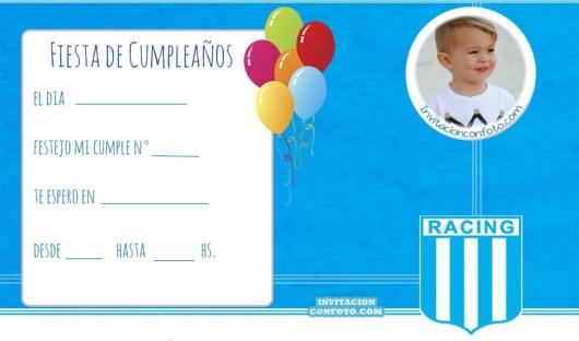 Tarjetas cumpleanos de Racing Club - invitaciones infantiles con foto