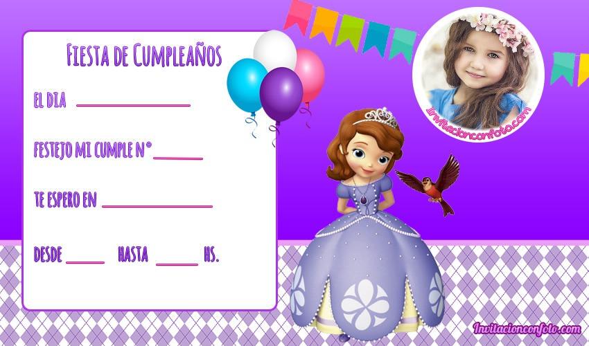 Invitaciones De Cumpleanos De Princesa Sofia Con Foto