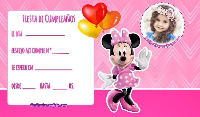 Invitaciones De Cumpleanos De Minnie Con Foto Invitaciones