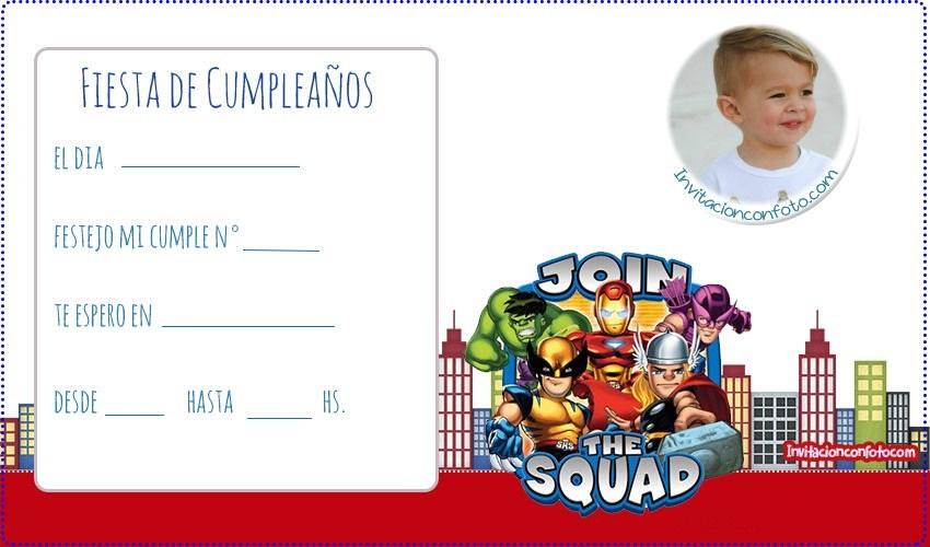 Marvel super hero squad tarjetas cumpleanos