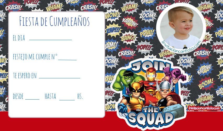 Tarjetas De Cumpleanos De Marvel Super Hero Squad