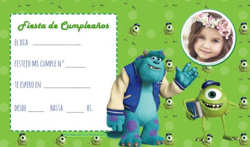 invitaciones de cumpleanos monsters inc con foto