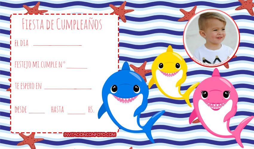 Baby Shark invitaciones con foto - baby shark tarjetas de cumpleanos-