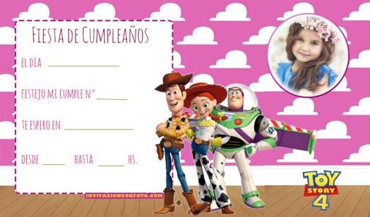 Tarjeta de Cumpleanos Toy Story ninas - Invitaciones cumpleanos toy story 4 jessy woody buzz