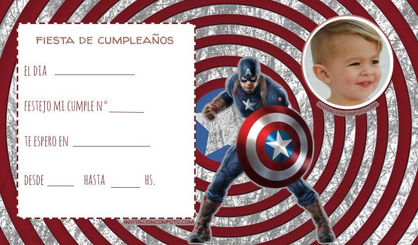 Invitaciones de Cumpleanos capitan america