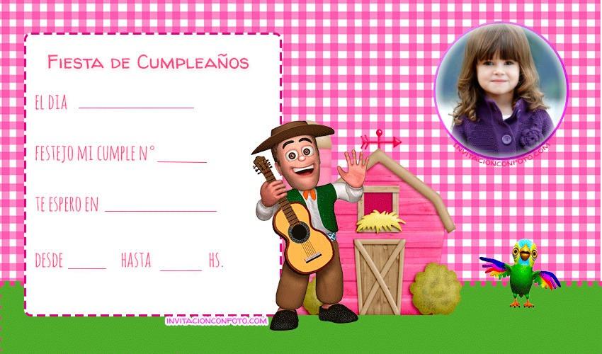 Invitaciones De Cumpleanos Granja Zenon Con Foto Para Ninas