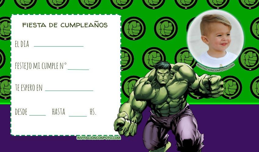 Editar invitaciones con foto Hulk