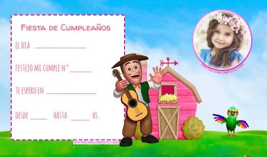 Tarjetas Cumpleanos Granja de Zenon para nenas invitaciones zenon fondo rosa