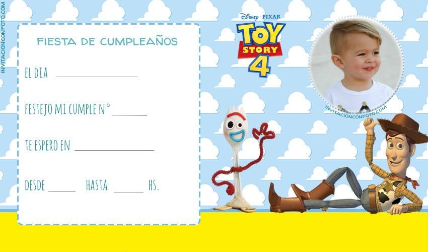 Toy Story 4 convite con foto
