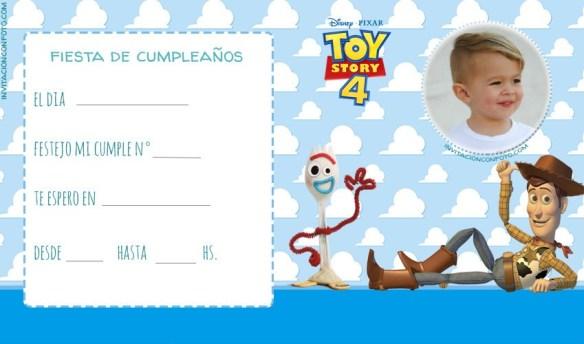 Invitaciones De Toy Story 4 Con Forky Para Editar Con Foto
