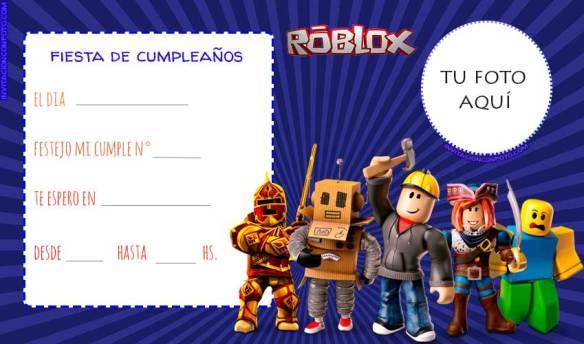 Invitaciones Roblox con Foto