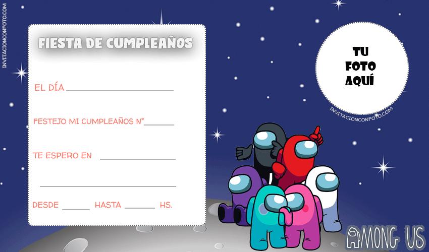 Among Us tarjetas cumpleanos
