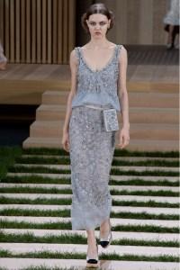Chanel vestido plata midi ss16 París