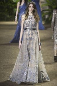 Elie Saab vestido plata sin mangas ss16 París