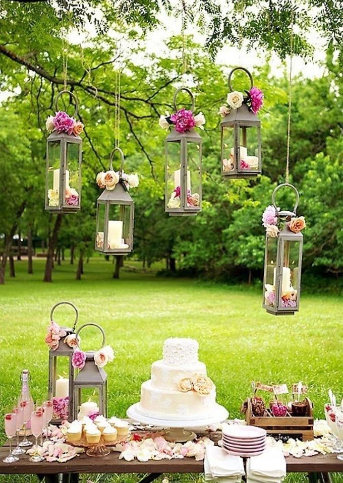 Decoración boda con farolillos