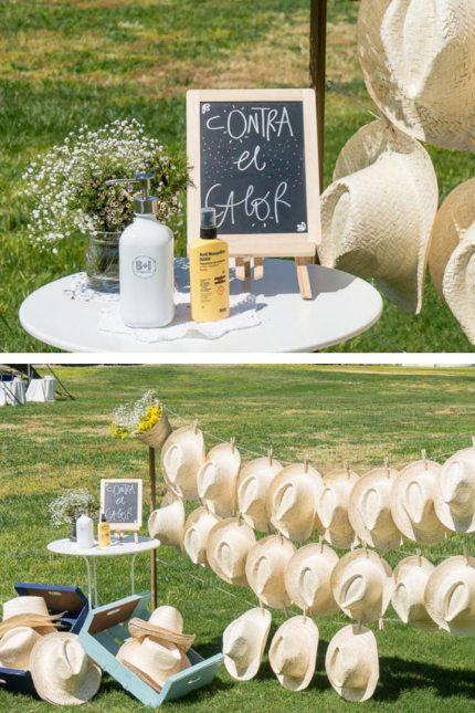ecoración boda sombreros y crema solar para el sol