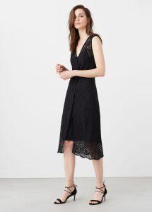 vestido mango negro guipur invitada boda