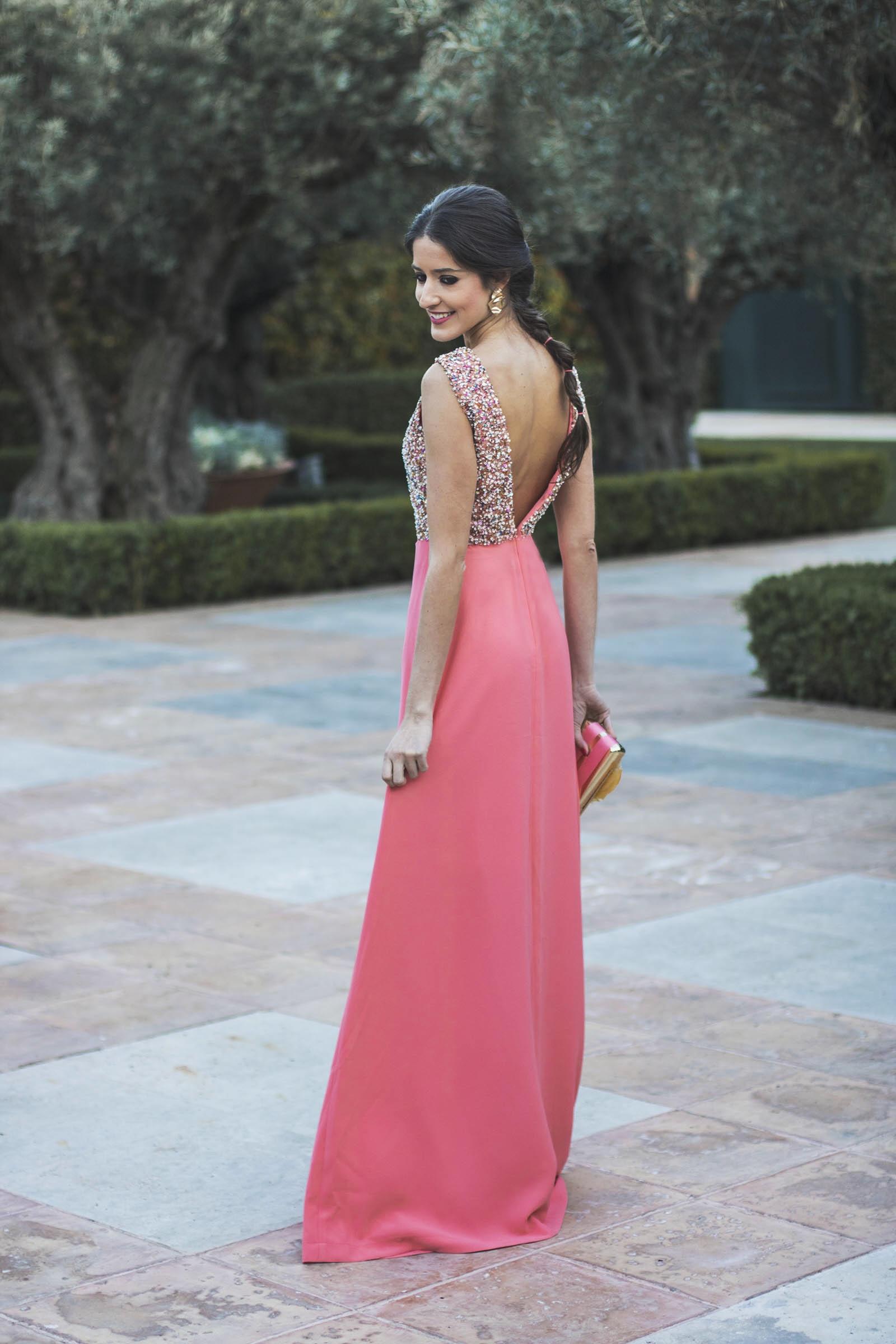 Vestido largo de noche coral – Hermosos vestidos