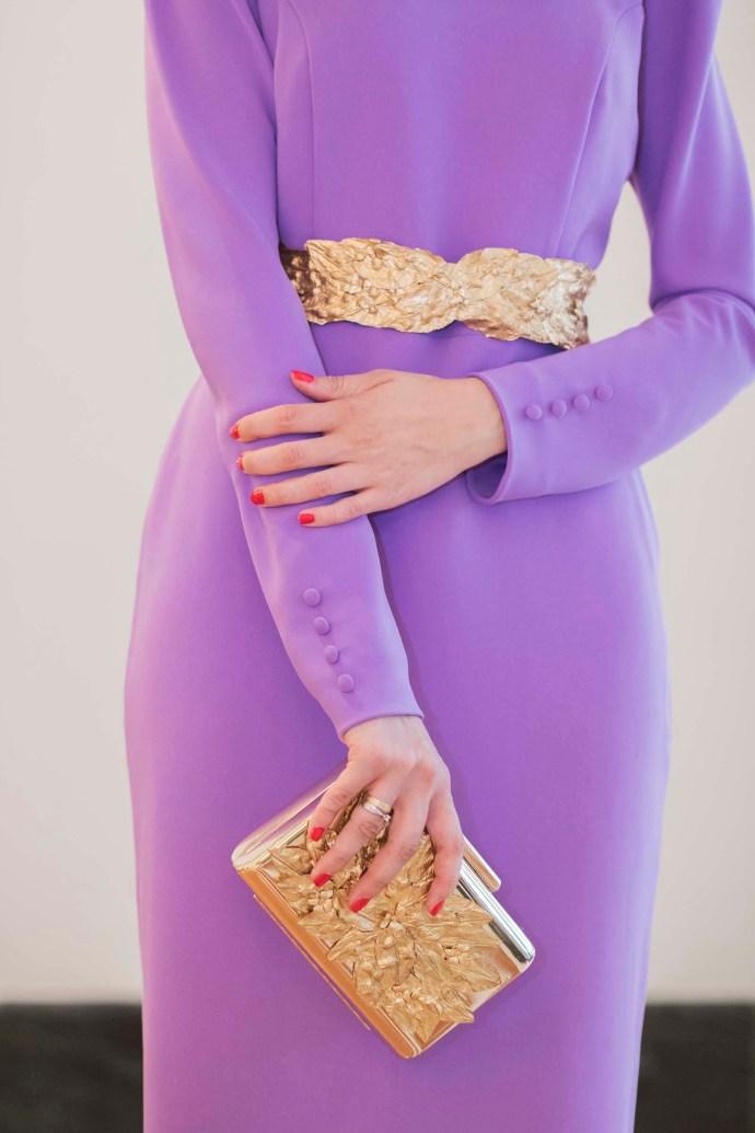 Cinturón bolso Clutch dorado hojas Cho Atelier