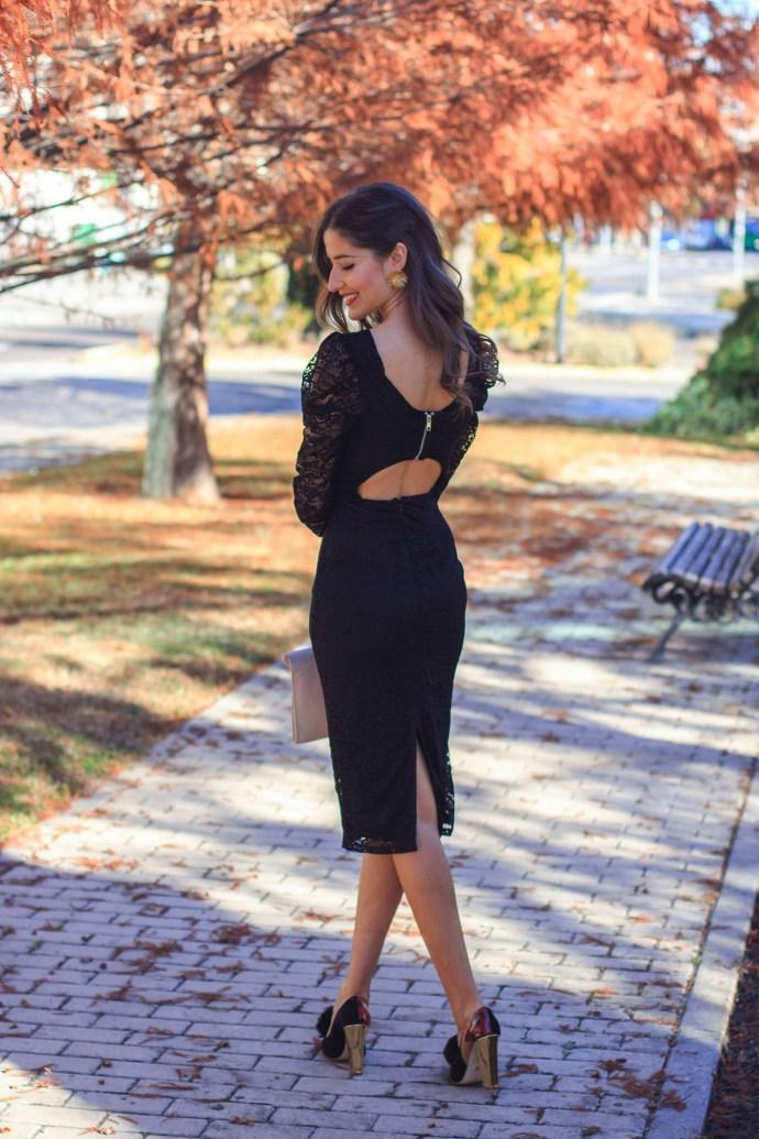 Vestido negro invittada encaje espalda pamela