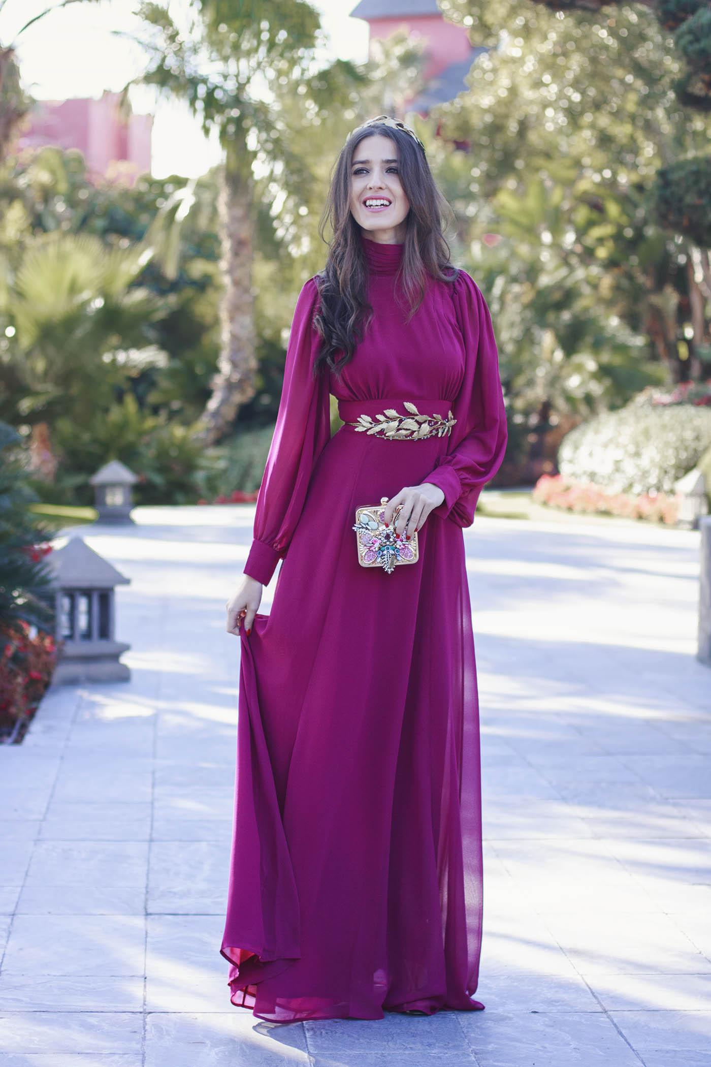 Vestido largo para boda de noche con cinturón 1 – Invitada Perfecta ...