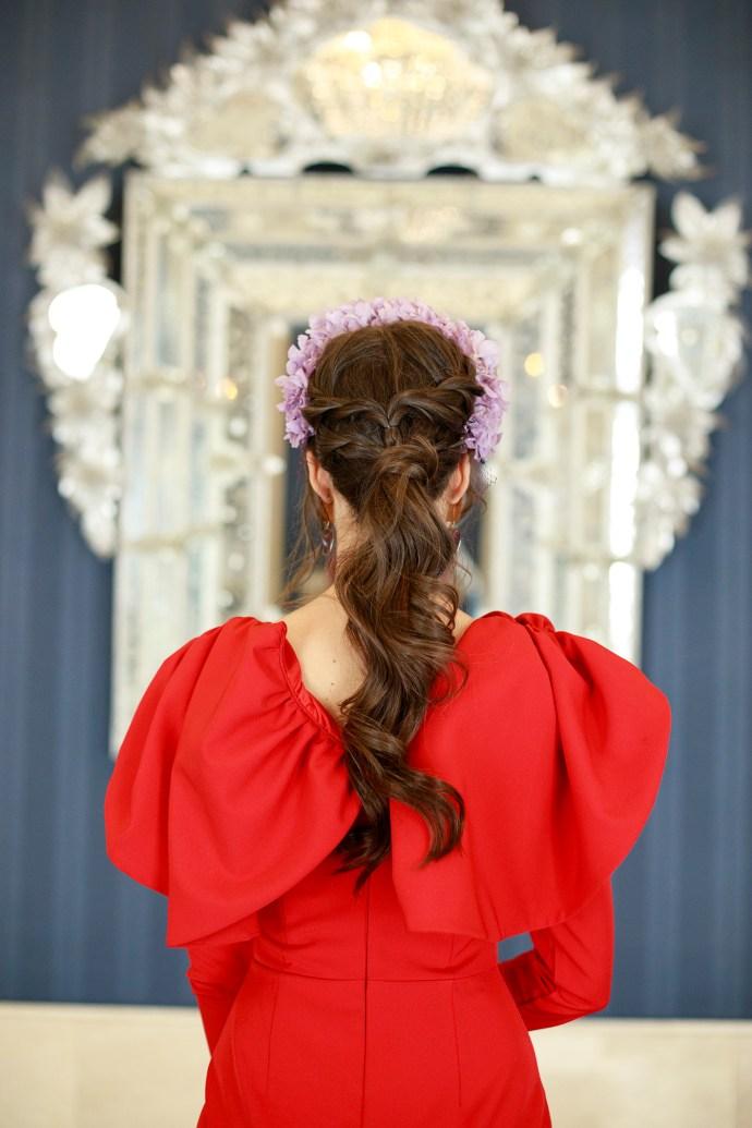 Vestido rojo boda comunion bautizo tocado flores invitada perfecta
