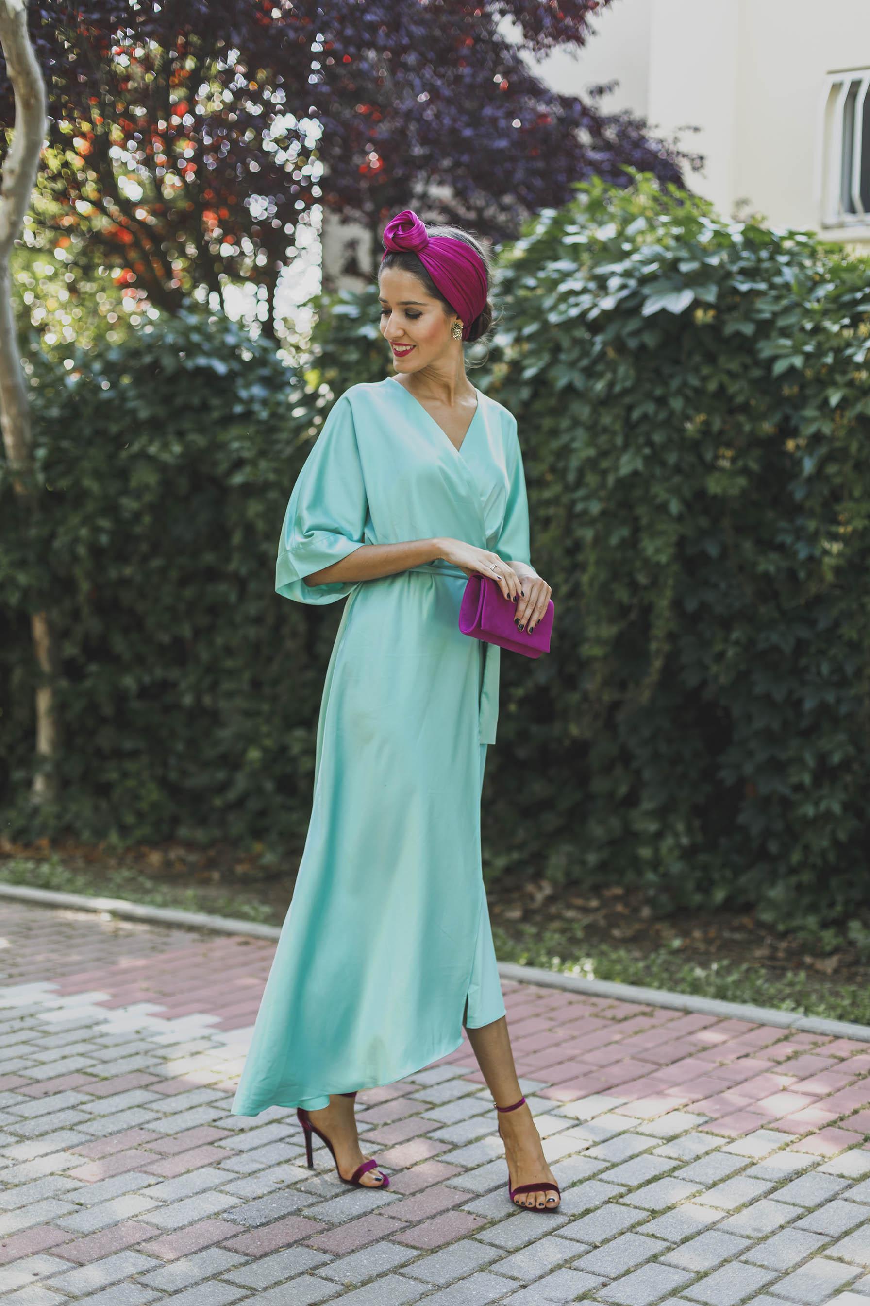 Invitada boda vestido turquesa