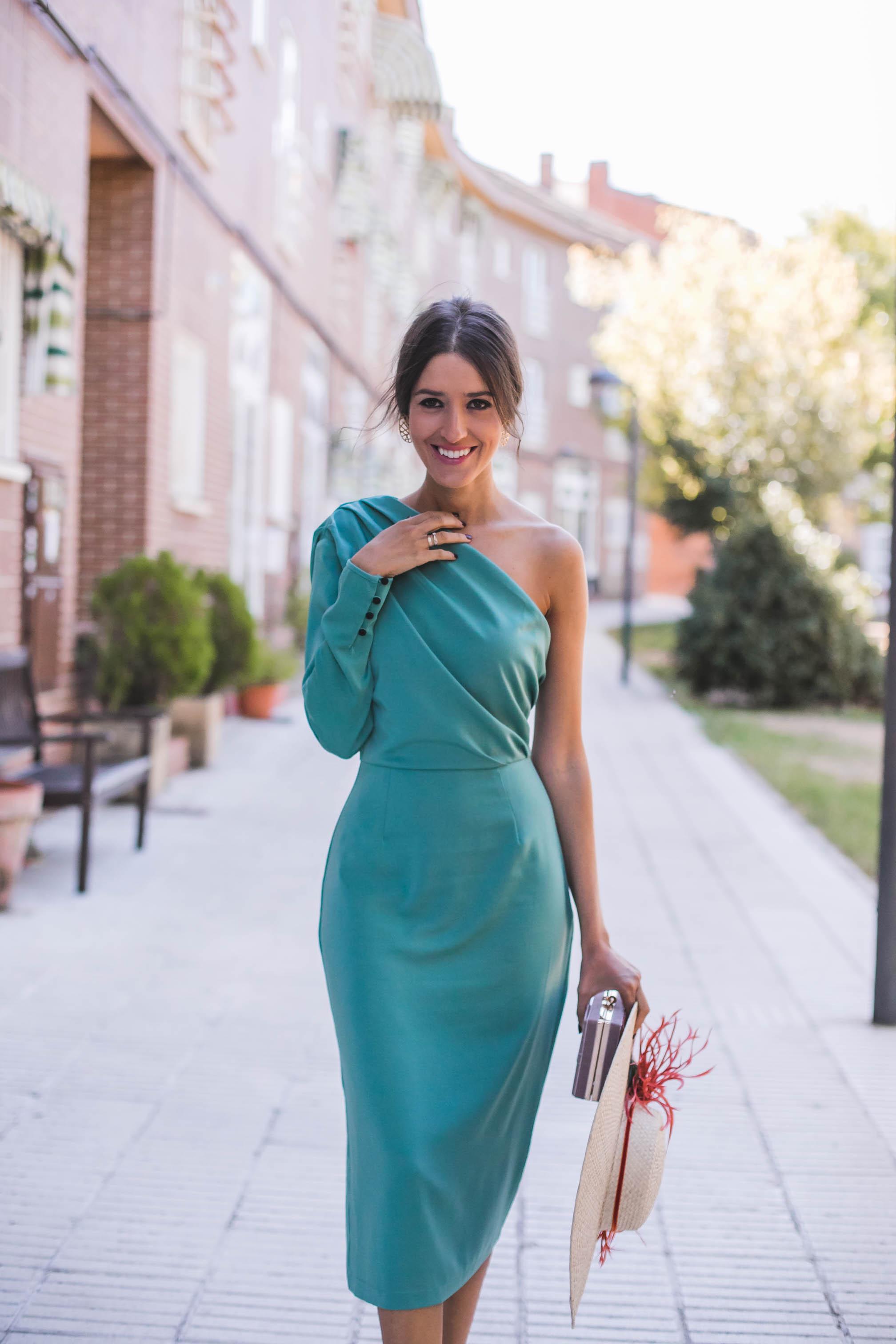 Verde By Asimétrico – Vestido Sandra 11 Perfecta Musgo Bruna Invitada vmnwON80