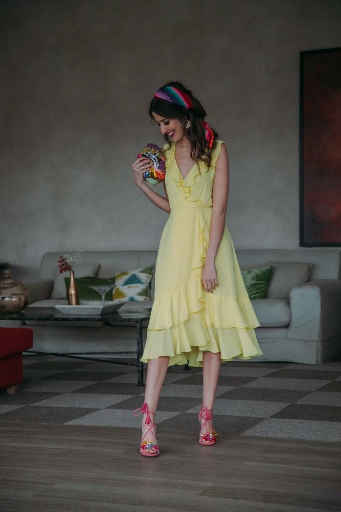 Look invitada boda 2019 vestido amarillo