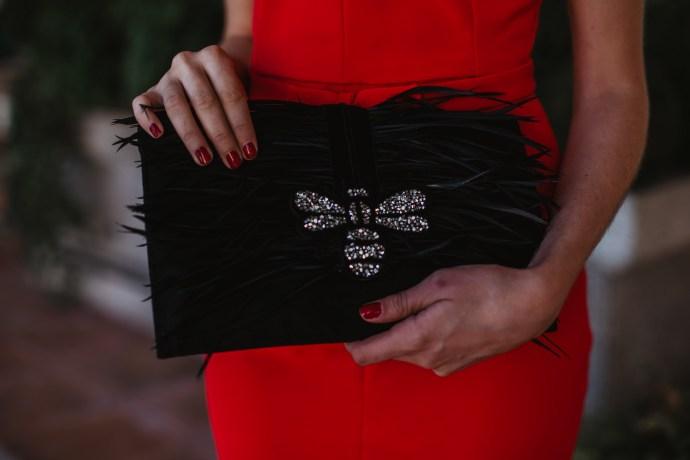 bolso negro plumas cartera invitada