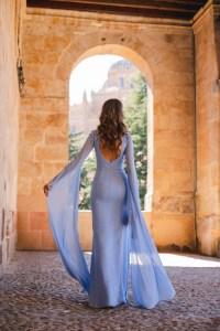 vestido azul mangas medieval
