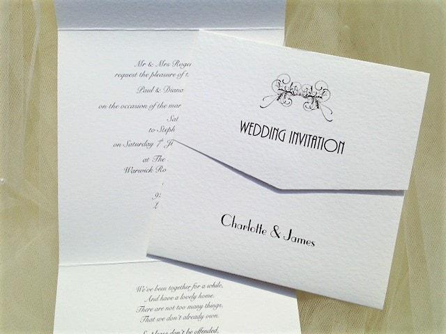 Art Deco Tri Fold Wedding Invitations