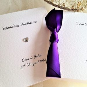 Diamante Heart Centre Fold Invites