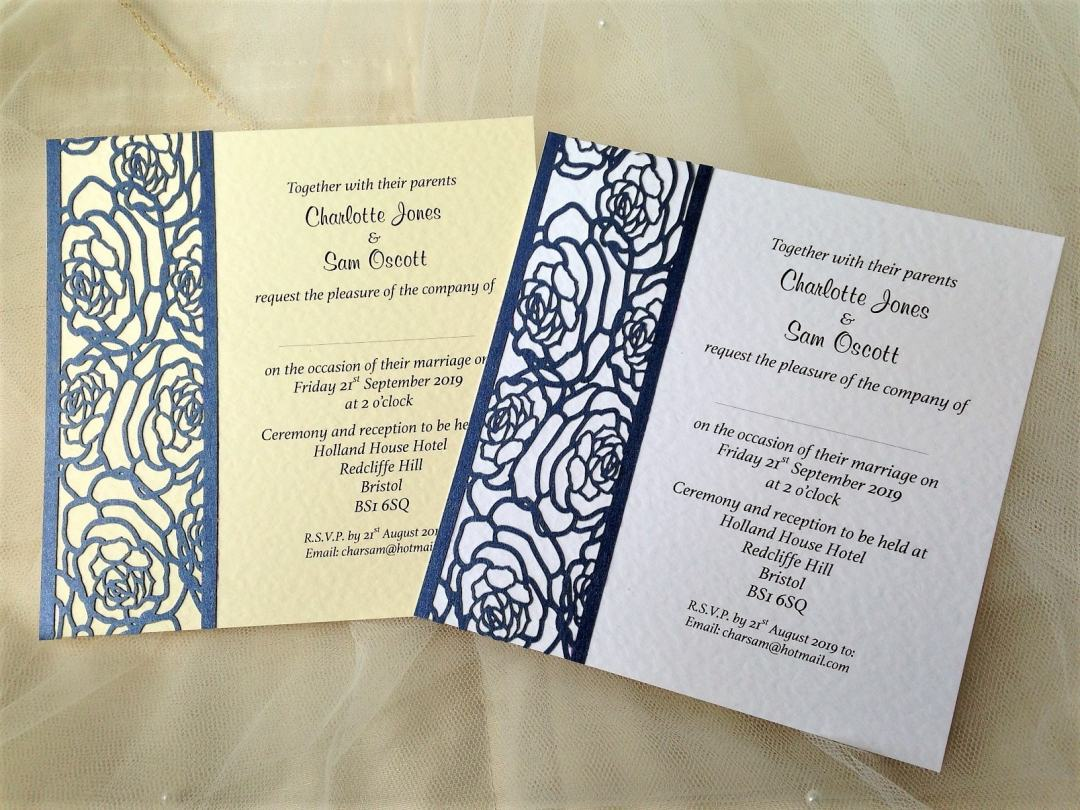 Laser Cut Rose Wedding Invitations