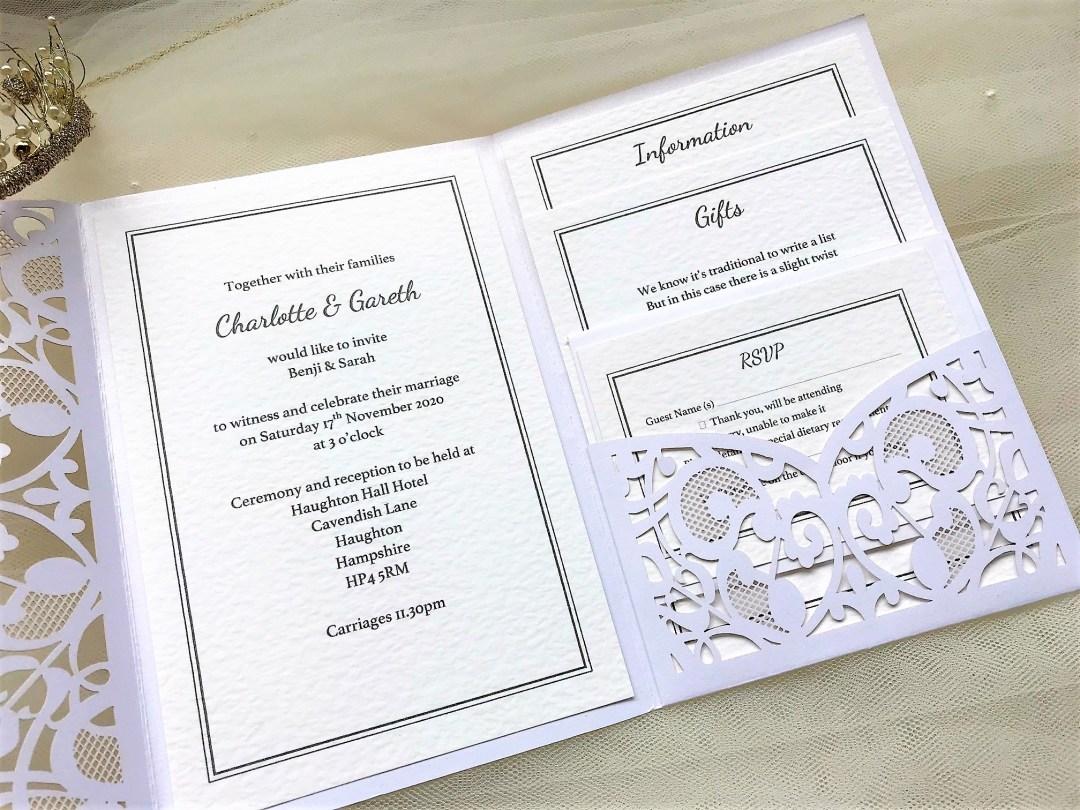 Silver Laser Cut Pocketfold Wedding Invitation