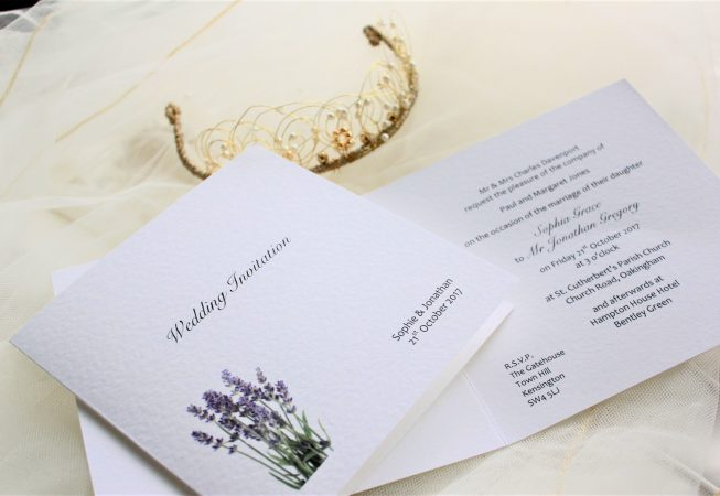 Lavender Centre Fold Wedding Invites