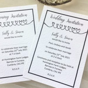 Linked Hearts Postcard Wedding Invites