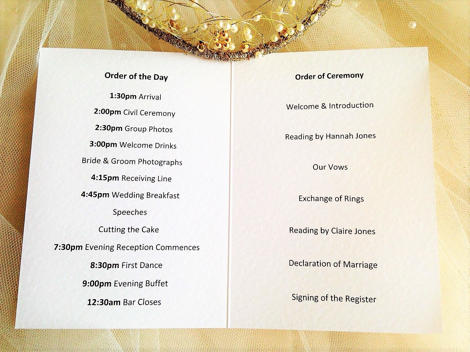 Bride Groom Order Of Service Books Order Of Service Template