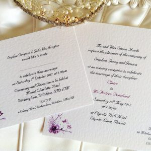Purple & Lilac Butterfly Postcard Wedding Invitations