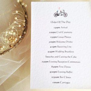 Tandem Bike Wedding Order of Day Cards