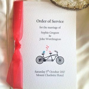 Tandem Bike Wedding Order of Service Books