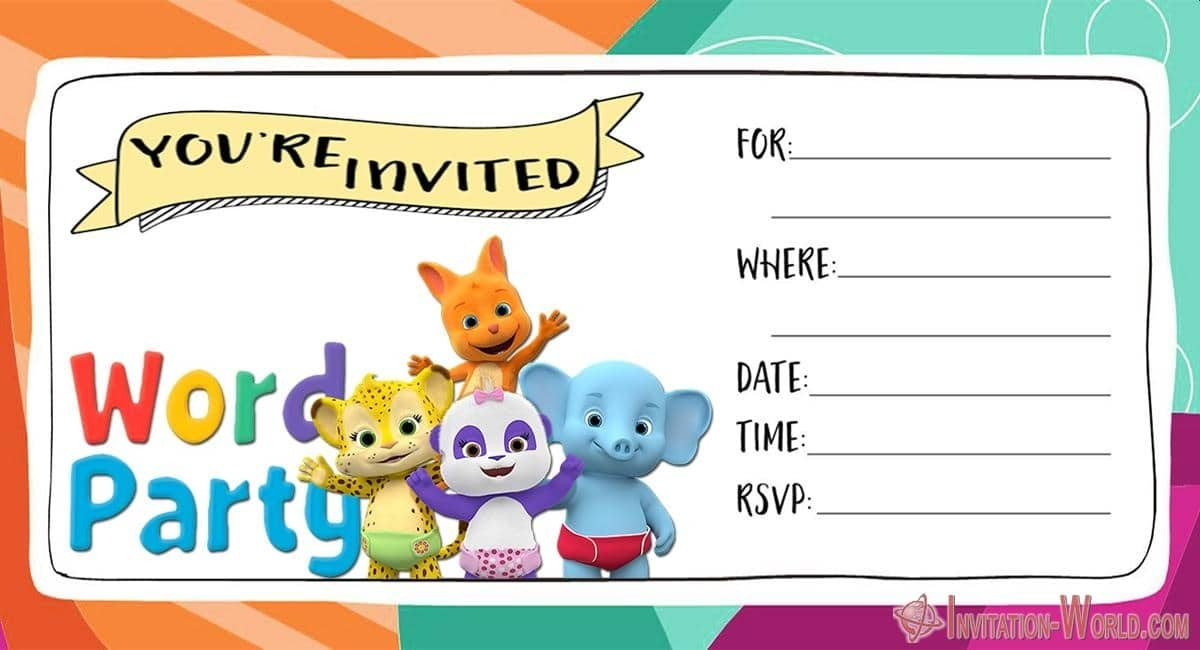 word party invitation cards
