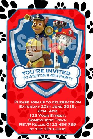 paw patrol invites invitations 4 kids