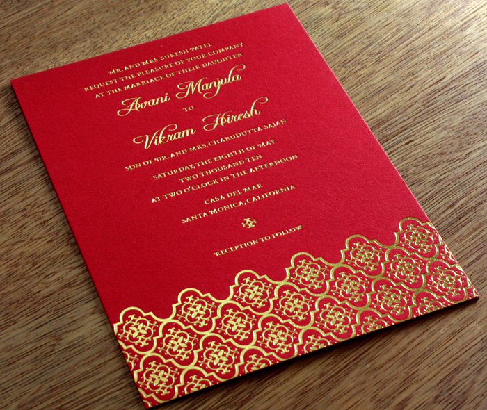 Indian Letterpress Wedding Invitation Gallery Avani Invitations