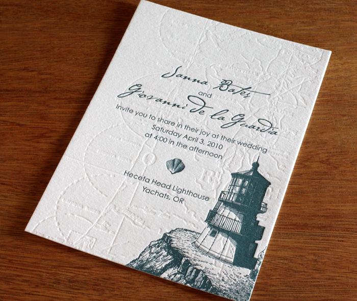 Green Seaside Wedding Invitation With Blind Sted Map