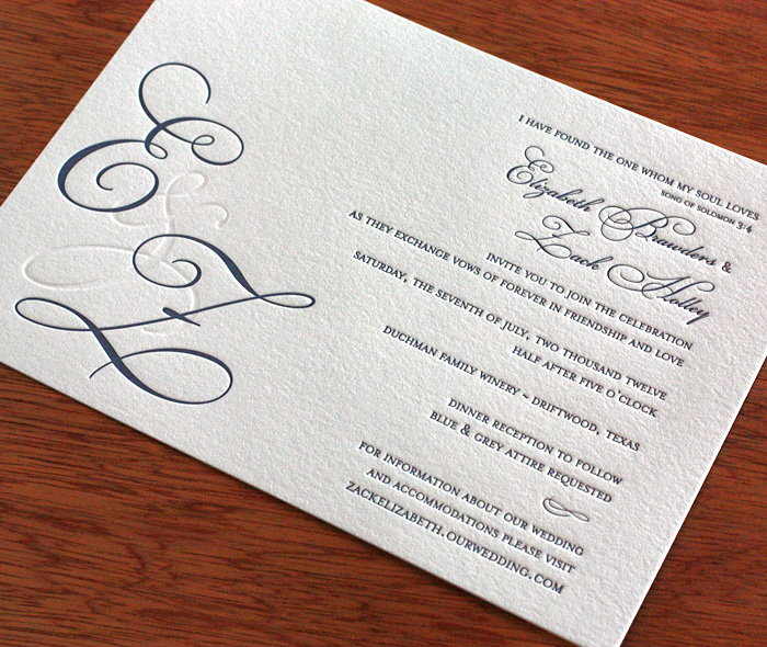Elegant Formal Letterpress Wedding Invitation With Bride And Groom Custom Monogram Dress Code Wording