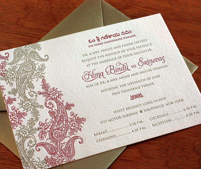 Red Gold Letterpress Bilingual Indian Wedding Baraat Reception Invitation