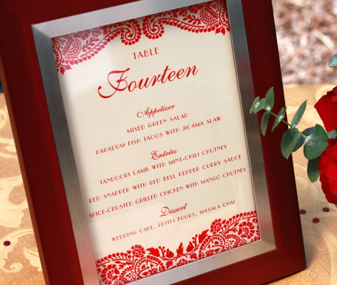 Wedding Reception Menu Card Samples