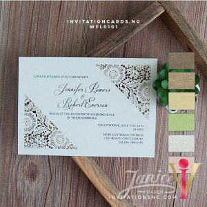 Flat Laser Cut Invitation Card WFL0101 is now available at invitationsng.com. Call 08173093902