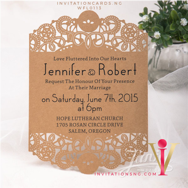 Flat Laser Cut Invitation Card WFL0113 is now available at invitationsng.com. Call 08173093902